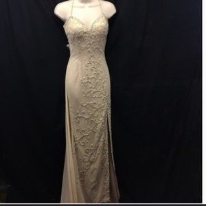Claire's Collection Beige Dress Beaded Gown NWOT
